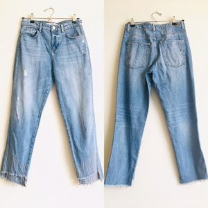 Zara Basic Z1975 Denim Rhinestone Hem Jeans